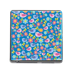 Spring pattern - blue Memory Card Reader (Square)