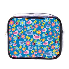 Spring pattern - blue Mini Toiletries Bags