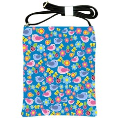 Spring pattern - blue Shoulder Sling Bags