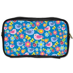 Spring pattern - blue Toiletries Bags 2-Side