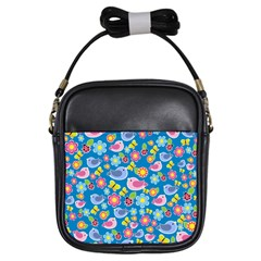 Spring pattern - blue Girls Sling Bags