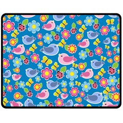 Spring pattern - blue Fleece Blanket (Medium)