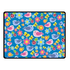 Spring pattern - blue Fleece Blanket (Small)
