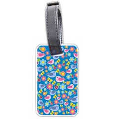 Spring pattern - blue Luggage Tags (Two Sides)