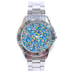 Spring pattern - blue Stainless Steel Analogue Watch