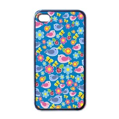 Spring pattern - blue Apple iPhone 4 Case (Black)