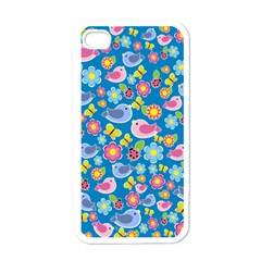 Spring pattern - blue Apple iPhone 4 Case (White)