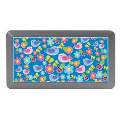 Spring pattern - blue Memory Card Reader (Mini)