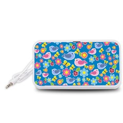 Spring pattern - blue Portable Speaker (White)