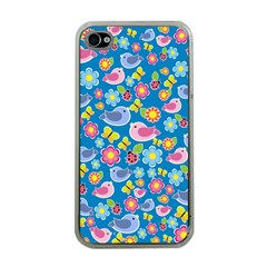 Spring pattern - blue Apple iPhone 4 Case (Clear)