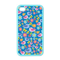 Spring pattern - blue Apple iPhone 4 Case (Color)