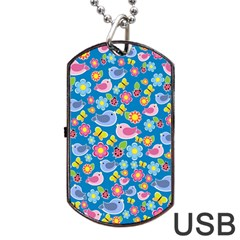 Spring pattern - blue Dog Tag USB Flash (One Side)
