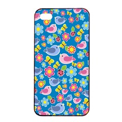 Spring pattern - blue Apple iPhone 4/4s Seamless Case (Black)