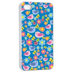 Spring pattern - blue Apple iPhone 4/4s Seamless Case (White)