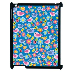 Spring pattern - blue Apple iPad 2 Case (Black)