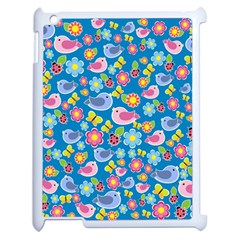 Spring pattern - blue Apple iPad 2 Case (White)