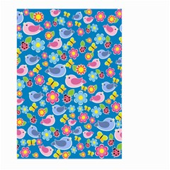 Spring pattern - blue Large Garden Flag (Two Sides)