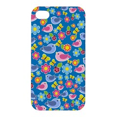 Spring pattern - blue Apple iPhone 4/4S Premium Hardshell Case
