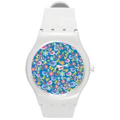 Spring pattern - blue Round Plastic Sport Watch (M)