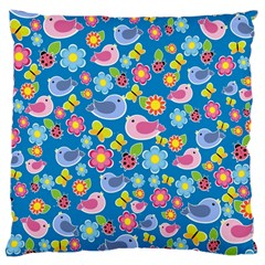 Spring pattern - blue Large Cushion Case (One Side)