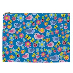 Spring pattern - blue Cosmetic Bag (XXL)