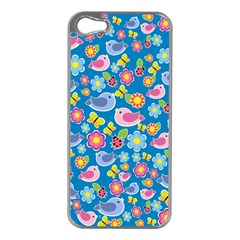 Spring pattern - blue Apple iPhone 5 Case (Silver)
