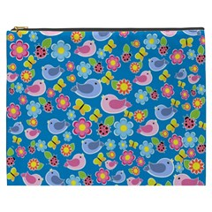 Spring pattern - blue Cosmetic Bag (XXXL)