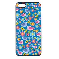 Spring pattern - blue Apple iPhone 5 Seamless Case (Black)