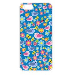 Spring pattern - blue Apple iPhone 5 Seamless Case (White)