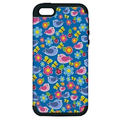 Spring pattern - blue Apple iPhone 5 Hardshell Case (PC+Silicone)