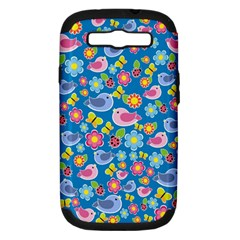 Spring pattern - blue Samsung Galaxy S III Hardshell Case (PC+Silicone)