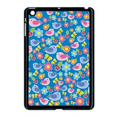 Spring pattern - blue Apple iPad Mini Case (Black)
