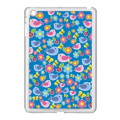Spring pattern - blue Apple iPad Mini Case (White)