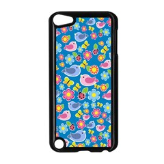 Spring pattern - blue Apple iPod Touch 5 Case (Black)