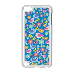 Spring pattern - blue Apple iPod Touch 5 Case (White)
