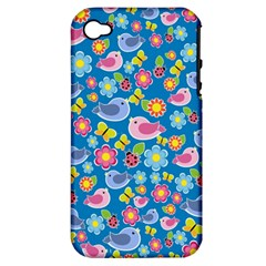 Spring pattern - blue Apple iPhone 4/4S Hardshell Case (PC+Silicone)
