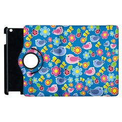 Spring pattern - blue Apple iPad 3/4 Flip 360 Case