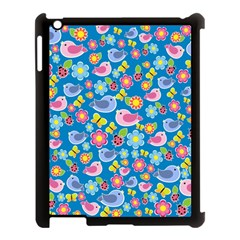 Spring pattern - blue Apple iPad 3/4 Case (Black)