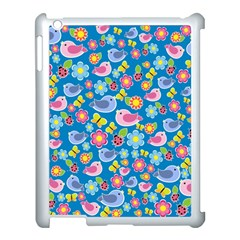 Spring pattern - blue Apple iPad 3/4 Case (White)