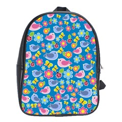 Spring pattern - blue School Bags (XL)