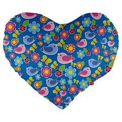 Spring pattern - blue Large 19  Premium Heart Shape Cushions