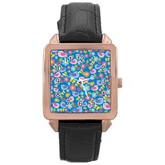 Spring pattern - blue Rose Gold Leather Watch