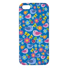 Spring pattern - blue Apple iPhone 5 Premium Hardshell Case