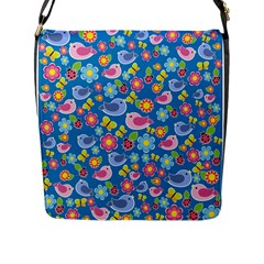 Spring pattern - blue Flap Messenger Bag (L)