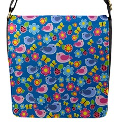 Spring pattern - blue Flap Messenger Bag (S)