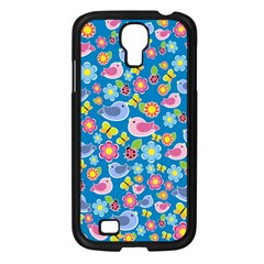 Spring pattern - blue Samsung Galaxy S4 I9500/ I9505 Case (Black)