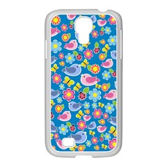 Spring pattern - blue Samsung GALAXY S4 I9500/ I9505 Case (White)