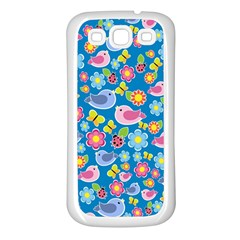 Spring pattern - blue Samsung Galaxy S3 Back Case (White)