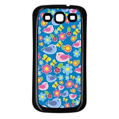 Spring pattern - blue Samsung Galaxy S3 Back Case (Black)