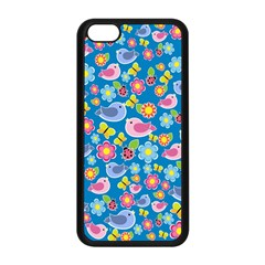 Spring pattern - blue Apple iPhone 5C Seamless Case (Black)